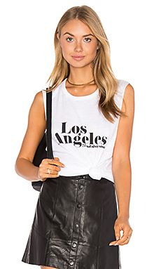 TYLER JACOBS Los Angeles Cut Off Tank in White