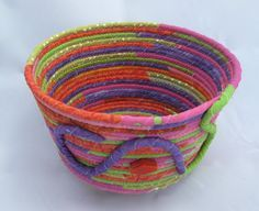 Basket Rope Coiled Bright Spring Colors Baby Shower Gift Basket Upcycled Clothesline