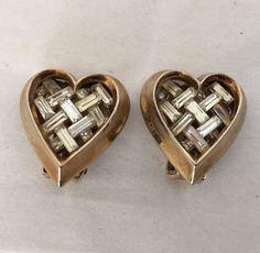 Trifari Gold Tone Heart Rhinestone Woven Earrings Vintage Pat Pending #Trifari #Clipon