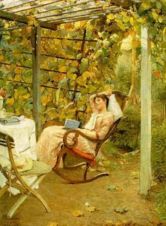 """A daydreaming woman with a book in the garden. """"In the Pergola"""" painted by Oscar Bluhm in 1892"""