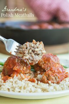 """Grandma's Polish Meatballs (aka """"Porcupine Meatballs"""") - whenever my grandma made her traditional stuffed cabbage, she would take some of the savory meat filling and make these for me for Sunday supper. 