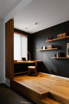 Consider changing the style or the color of your home office. And if you're looking for something a bit more daring, cue the depth-defining hue that always makes us swoon: black. #hunkerhome #homeofficeideas #blackhomeoffice #blackhomeofficeideas Dark Blue Walls, Black Walls, White Walls, Home Office Design, Home Office Decor, Office Ideas, Home Decor, Office Setup, Office Lighting