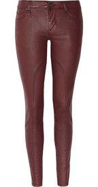 Burberry BritMid-rise coated stretch-denim skinny jeans