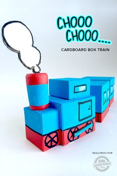 Cardboard Box Train – Pull Along And Play mollymoocrafts.com for #kidsactivitiesblog @hollyhomer