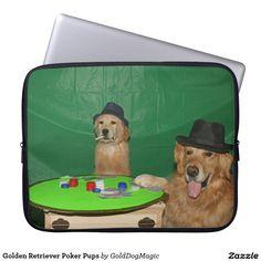 Golden Retriever Poker Pups Laptop Computer Sleeves