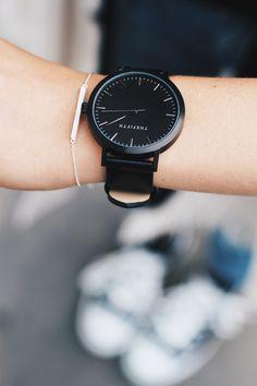The Fifth Watches watch & bar bracelet. Via Mija   All Black Fifth Timepiece www.thefifthwatches.com
