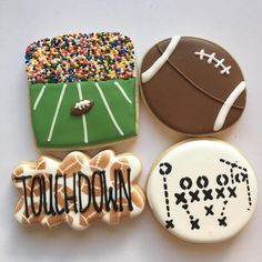 Shared by Carla Football Cookies, Football Snacks, Fall Cookies, Iced Cookies, Cut Out Cookies, Cute Cookies, Cupcake Cookies, Football Parties, Football Birthday
