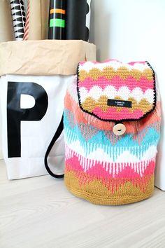 Knitted&crocheted rucksack LÄMMIN ILO Diaper Bag, Backpacks, Knitting, Blog, Handmade, Hand Made, Tricot, Diaper Bags, Mothers Bag