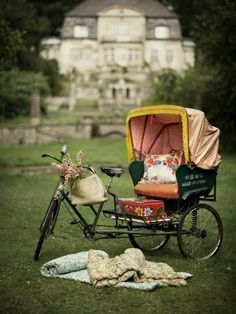 First, I want to be on a lovely old estate.  Second, I want to be on a spacious green lawn.  Third, I want to be  picnicking. Lastly, I WANT THAT BIKE!
