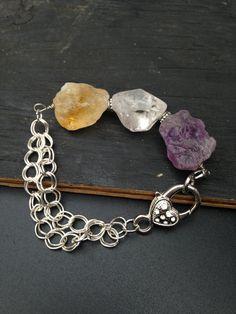 Raw Stone Bracelet  Natural Gemstone  Jewelry Chunky by lyrisgems