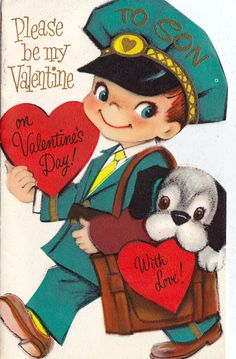 Vintage Children's Greeting Valentines Day by RetroVintageBazaar