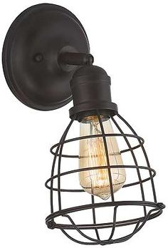 This Savoy House Scout single-light bathroom wall sconce is a combination of vintage-inspired cage structures, an English Bronze finish and exposed bulb style. Black Wall Sconce, Rustic Wall Sconces, Bathroom Wall Sconces, Wall Sconce Lighting, Light Bathroom, Barn Lighting, Modern Lighting, Sconces Living Room, Light Fixtures