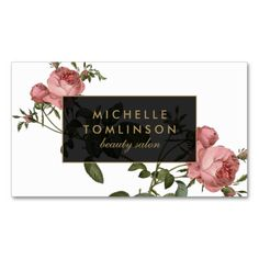 Vintage Floral Elegant Salon Business Card. I love this design! It is available for customization or ready to buy as is. All you need is to add your business info to this template then place the order. It will ship within 24 hours. Just click the image to make your own!