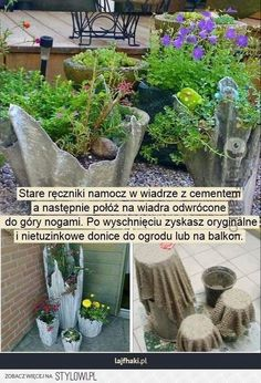Dip blankets in concrete, hang to dry, turn over for planters! Cement Crafts, Container Gardening, Concrete, Diy And Crafts, Projects To Try, Planters, Home And Garden, Yard, Exterior