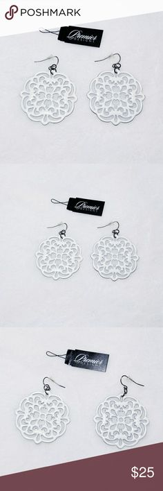 Premier Designs DOILY White Earrings {Premier Designs} DOILY White Earrings. Hematite plated,  enamel. Fishhook earrings Premier Designs Jewelry Earrings