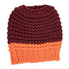 Knitted Bun Hat-Maroon/Orange