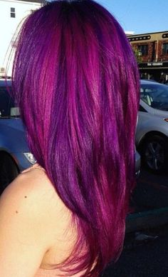 Pink purple hair / straight hair/ long hair  Yes I want to do this