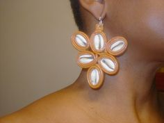 leather cowrie shell earrings