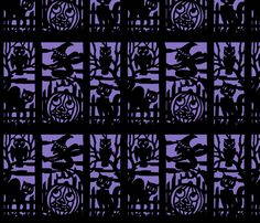 vintage retro kitsch halloween panels cats witches bumpkins cemetery cemeteries graves graveyards owls silhouette outlines jack lanterns shadows  fabric by raveneve on Spoonflower - custom fabric