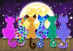 Colorful Cats Painting - Moon Shadow Meow by Nick Gustafson cat art Moon Shadow, Photo Chat, Cat Quilt, Cat Drawing, Whimsical Art, Art Plastique, Crazy Cats, Cat Art, Cats And Kittens