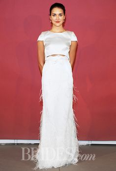 Non-traditional bridal. The feather-like fringe adds texture, while to satin top keeps it simple. #layeredny