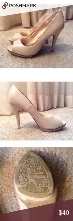 "Nude Open Toe High Heels Heel height about 4.5""  . Worn twice. X.APPEAL Shoes Heels"