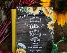 Rustic Sunflower Wedding Invitations Sunflower by OddLotPaperie