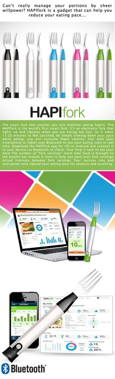 HAPIfork Bluetooth-Enabled Smart Fork. The smart fork that coaches you into healthier eating habits. The HAPIfork is the world's first smart fork. It's an electronic fork that lights up and vibrates when you are eating too fast.