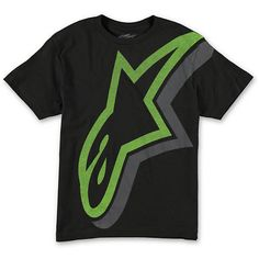 Make sure your little dude is riding in comfort with the Alpine Stars boys Duly black tee shirt. Instantly add style to any outfit with the large green Alpine Stars logo screen print graphic at the entire front with a grey silhouette, and a tagless design for comfort.