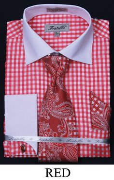 This Fratello men's french cuff dress shirt comes in checker two tone and includes tie, hanky and cuff links. These unique dress shirts are a great compliment to your new suit and are available in 60% cotton / 40% polyester fabric.