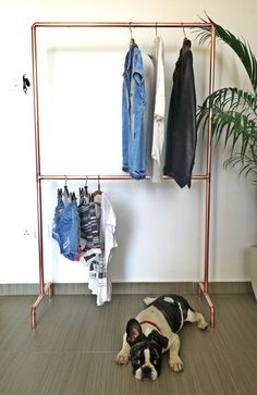 Garment rack made from real industrial copper pipes. A garment design as such…