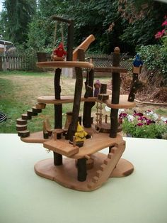 Tree Blocks Built A Treehouse Waldorf Handmade Natural Wood | eBay