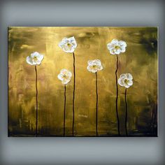 art original palette knife flower painting abstract by mattsart