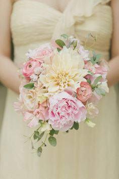 peony, dahlia and ranunculus bouquet | Photography by onelove-photo.com | Design + Coordination by mybridestory.com/index2.php |  Floral Design by fleuretica.com