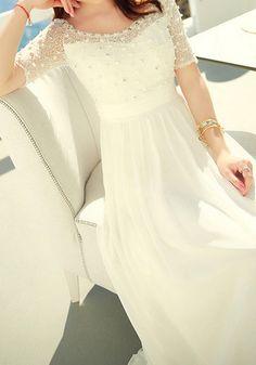 e77eba090b White Beaded Maxi Dress White Beads