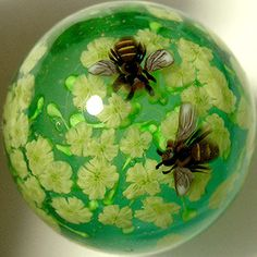 Canola Blossom and Bee Marble Satake Glass by AyakoGlassGarden