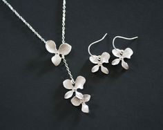 Orchid Gift Set Necklace and Earrings Sterling Silver  by untie, $41.00