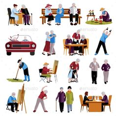 Elderly people icons set by Macrovector on