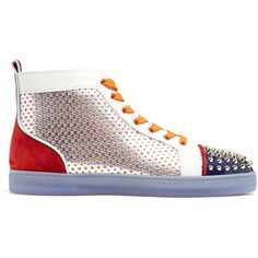 Christian Louboutin Louis contrasting high-top leather trainers (52,200 PHP) ❤ liked on Polyvore featuring men's fashion, men's shoes, men's sneakers, multi, shoes, colorful sneakers, leather sneakers, leather shoes, perforated leather sneakers and hi tops