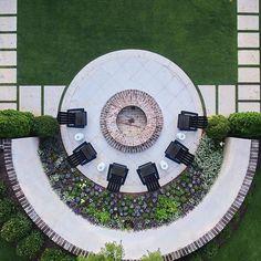 Aerial view reveals geometric symmetry created by our landscape architects. Landscape Concept, Garden Landscape Design, Landscape Architecture, Landscape Designs, Back Garden Landscaping, Landscaping Ideas, Harrison Design, Parking Design, Villa Design