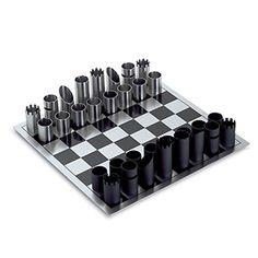 Modern Chess Set by Yap Schachspiel, stainless steel.