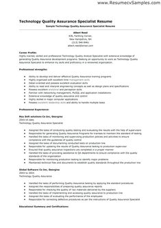 Quality Control Resume Samples Pleasing For Qa Tester  Pinterest  Resume Examples Sample Resume And Template