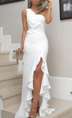 One Shoulder Prom Dress Twisted Ruffles Party Dress Slit Hem Dress Evening Dresses White Mermaid Prom Dress - shuiruyan Ball Gowns Evening, Mermaid Evening Dresses, One Shoulder Prom Dress, Ruffles, Ribbed Knit Dress, Outfit Trends, Looks Chic, Tube Dress, Homecoming Dresses