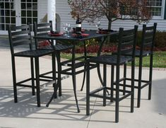 Furniture: Traditional Bar Height Patio Set For Stylish . Tall Patio Table In 2019 Outdoor Tables Chairs Outdoor .