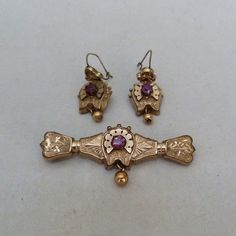 ANTIQUE VINTAGE VICTORIAN GOLD FILLED DOUBLET PASTE GLASS STONE EARRINGS PIN SET