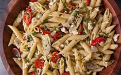 This pasta salad recipe is full of artichokes, tomatoes, basil, parsley, and ricotta salata cheese and is ideal for picnics and barbecues.