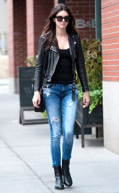 Kendall Jenner hits the streets of NYC in ripped denim and leather. We're obsessed!