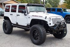 The AEV Wrangler JK and Dual Sport SC lift kit offers the ultimate in looks and performance, while retaining factory-style handling for your Jeep. There is no better lift kit for the every day driver than the AEV DualSport lift kit! White Jeep Wrangler, Jeep Wrangler Interior, Jeep Wrangler Lifted, Jeep Jk, Jeep Rubicon, Jeep Truck, Gmc Trucks, Jeep Wranglers, Lifted Jeeps