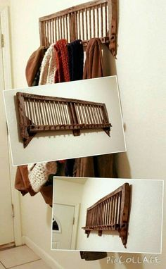 """Old chicken crate coat rack made from two """"walls"""" of the crate. Cut one wall in half, trim with pruners, and secure with screws for a neat-looking and easy to make primitive piece."""