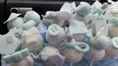 Boy baby shower cake pops cake pop blue and gray elephant baby whale